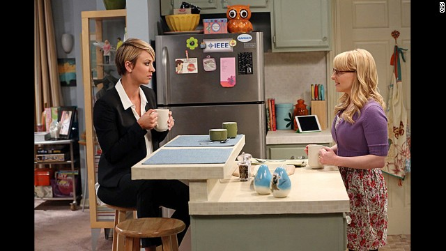 Cuoco, left, plays Penny, a waitress who can't quite match wits with her group of friends but nevertheless hangs out with them. In season 8, Cuoco's new haircut won't be the only change for Penny, who's embarking on a career as a pharmaceutical sales rep with help from Bernadette (Melissa Rauch, right).