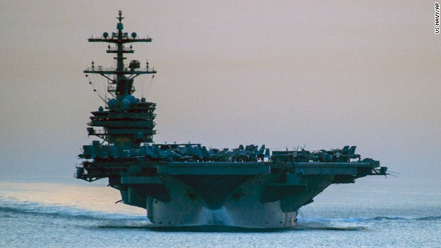 F/A-18 jets and other aircraft used in strikes against ISIS were launched from the USS George H.W. Bush, a 103,600-ton aircraft carrier seen here in April as it transits the Strait of Hormuz.