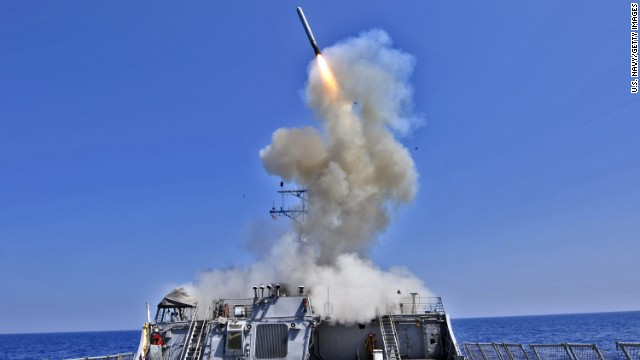 On September 22, the United States fired 47 Tomahawk missiles against targets in Syria. Tomahawks are long-range subsonic cruise missiles used to take out high-value or heavily defended land targets. They were first used in Operation Desert Storm in 1991. Here, the U.S. Navy guided-missile destroyer USS Barry (DDG 52) launches a Tomahawk cruise missile in 2011.