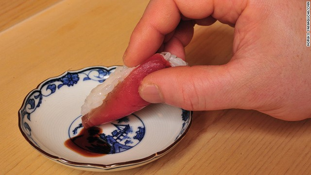 4. Dip lightly into soy sauce.