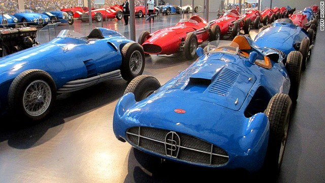 The Cite de l'Automobile holds more than 430 cars collected by the Schlumpf brothers. Among them are this Grand Prix racing lineup led by the Bugatti Type 251.