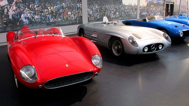 A classic line up of Ferrari, Mercedes-Benz and Gordini sports racers in the Cite de l'Automobile. The Schlumpf brothers began collecting their cars in secret, storing them in their textile warehouses.