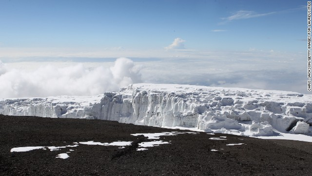 <strong>Mountain glaciers: </strong>The snows capping majestic Mount Kilimanjaro, Africa's highest peak, once inspired Ernest Hemingway. Now they're in danger of melting away altogether. Studies suggest that if the mountain's snowcap continues to evaporate at its current rate, it could be gone in 15 years. Here, a Kilimanjaro glacier is viewed from Uhuru Peak in December 2010.