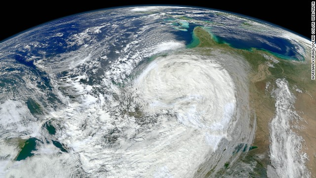<strong>Extreme weather: </strong>The planet could see as many as 20 more hurricanes and tropical storms each year by the end of the century because of climate change, according to <a href='http://www.pnas.org/content/110/41/16361.full.pdf+html' target='_blank'>a 2013 study</a> published in the Proceedings of the National Academy of Sciences. This image shows Superstorm Sandy bearing down on the New Jersey coast in 2012.