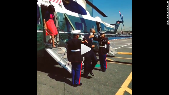 President Barack Obama's less-than-formal salute, shown here on Instagram.