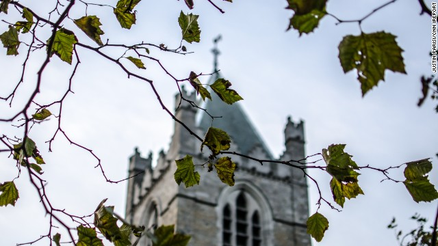 Green leaves just starting to color dangle in front of Christ Church Cathedral. The church, located in Dublin, Ireland, is one of the city's two medieval cathedrals.