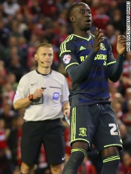 Albert Adomah stepped up to the spot, but sliced his effort wide.