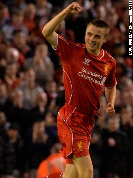 Liverpool midfielder Jordan Rossiter, who has been compared to Steven Gerrard, made his full debut for the club and the 17-year-old gave the Reds a first-half lead.