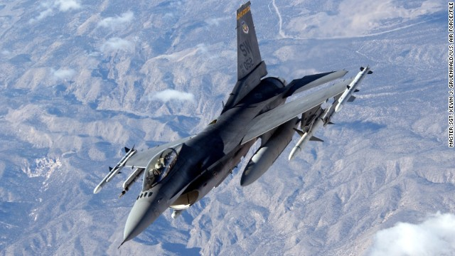 The workhorses of the American fighter fleet, F-16s, have been used in several strikes against ISIS. An F-16 fighter is seen here over the Nellis Air Force Base in Nevada in 2006. F-16s can travel 1,500 mph, or Mach 2, at altitude.