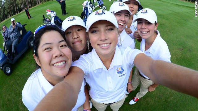 Players at the 2014 Junior Ryder Cup -- which features boys and girls -- got in on the selfie act before their tournament in Scotland. Sierra Brooks of Team USA borrowed a camera to snap her teammates Amy Lee, Andrea Lee, Kristen Gillman, Bethany Wu and Hannah O'Sullivan.