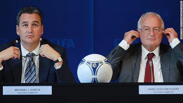 Garcia (left) handed his report on the bidding process for the 2018 / 2022 World Cups to the FIFA Ethics Committee. Garcia has also called for the findings of his report to be made public.