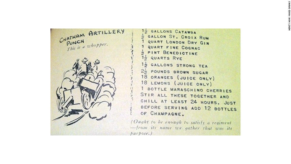 "Chatham Artillery Punch from ""Here's How: Mixed Drinks"" (1941)"