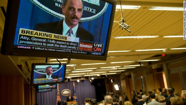 Holder announces in November 2009 that five men accused of the September 11 terror attacks would be tried in a New York civilian court. Holder said the government would seek the death penalty against Khalid Sheikh Mohammed and four others.