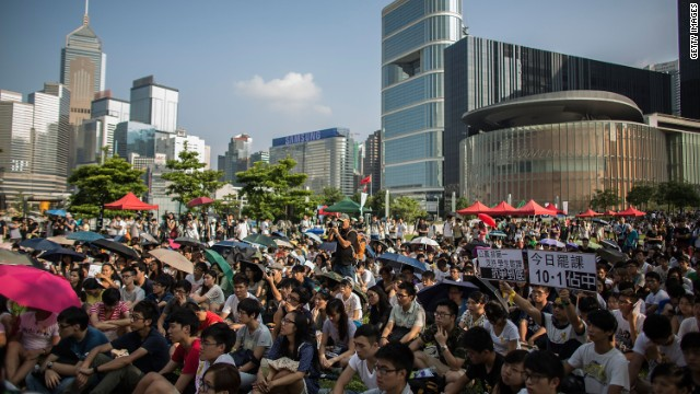 Students take part in a rally outside Hong Kong's government complex on Tuesday, September 23.