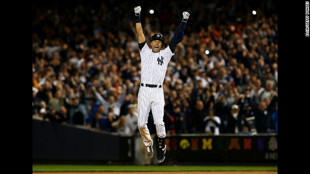 """Jeter celebrates after hitting the game-winning RBI in his last game at Yankee Stadium. """"I don't think there's a more fitting way for it to end,"""" Yankees manager Joe Girardi said."""