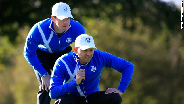 The big guns went out last as world No. 1 Rory McIlroy (left) and Sergio Garcia took on Phil Mickelson and Keegan Bradley in the final fourball of the morning.