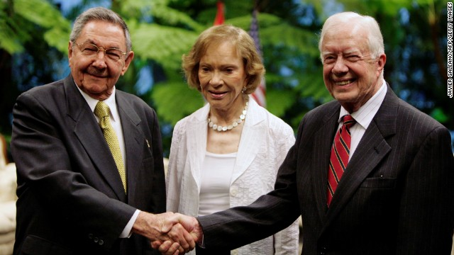 Cuban President Raul Castro greets Carter and his wife at the Revolution Palace in Havana on March 30, 2011. Carter was the first former U.S. President to visit Cuba since the 1959 revolution.