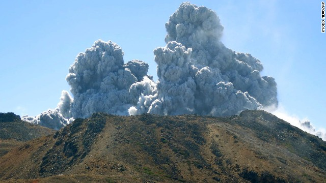 Plumes of smoke and ash rise over Mount Ontake on Saturday, September 27.