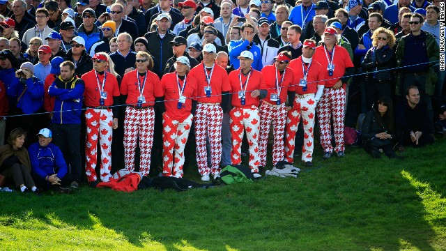 Nice pants! There's always plenty of colorful clothing on show at the Ryder Cup.