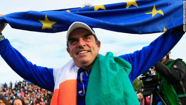 Europe's winning captain Paul McGinley soaks up the atmosphere after his side clinched a 16 1/2 to 11 1/2 victory at Gleneagles.