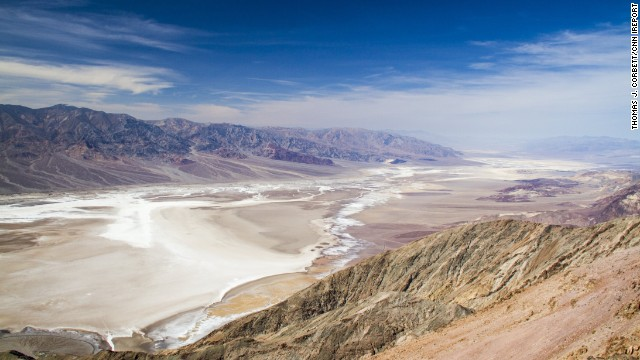 This is what you see from the top of Dante's View at Death Valley National Park in California. Badwater Basin is 282 feet below sea level, making it the lowest point in North America.