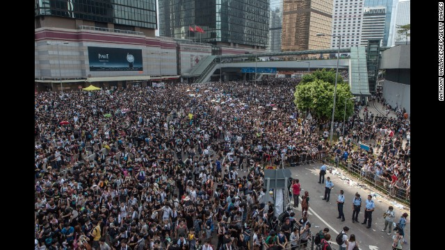 Pro-democracy protesters gather near government headquarters on September 29.