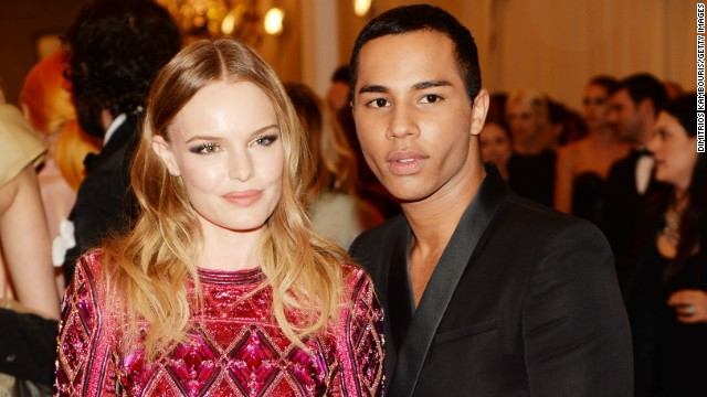 His designs have a loyal celebrity following, including actress Kate Bosworth, who Rousteing is pictured with at last year's Met Gala.