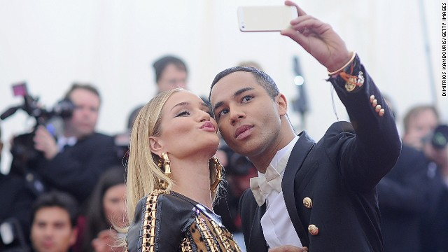 Rousteing's <a href='http://instagram.com/olivier_rousteing' target='_blank'>Instagram </a>account has over 600,000 followers and is peppered with photos of Rousteing and his famous friends, like model Rose Huntington-Whiteley who he poses with for a selfie at this year's Met Gala in New York.
