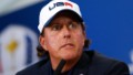 Phil Mickelson of the United States talks during a press conference after the United States were defeated by Europe after the Singles Matches of the 2014 Ryder Cup on the PGA Centenary course at the Gleneagles Hotel on September 28, 2014 in Auchterarder, Scotland.