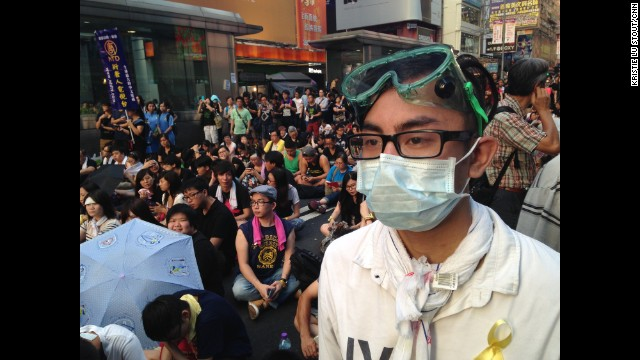 "HONG KONG: ""We want a peaceful occupation, no violence or confrontation. I wear the goggles and mask just in case."" - Wincent Yeung, 28, waiter. Hong Kong is being gripped by pro-democracy protests. Demonstrators are angry at China's decision to allow only Beijing-vetted candidates to stand in the city's elections for chief executive in 2017. Photo by CNN's Kristie Lu Stout, September 29. Follow Kristie (@klustout) and other CNNers along on Instagram at instagram.com/cnn."