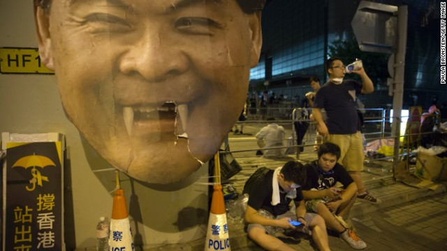 Hong Kong chief executive CY Leung is the chief target of the protesters' anger. Chants for him to step down from the role regularly circulate among the protesters.