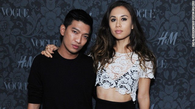BryanBoy is seen here with another blogging superstar, Rumi Neely of the Fashion Toast blog. She has modeled for designer Rebecca Minkoff and fast fashion brand Forever 21.