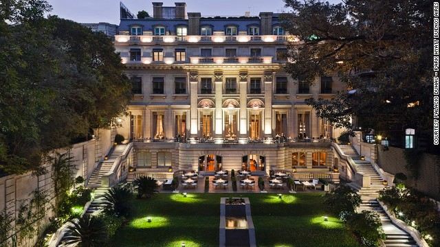 More than half of the Palacio Duhau -- Park Hyatt Buenos Aires property is made up of a cascading garden full of roses.
