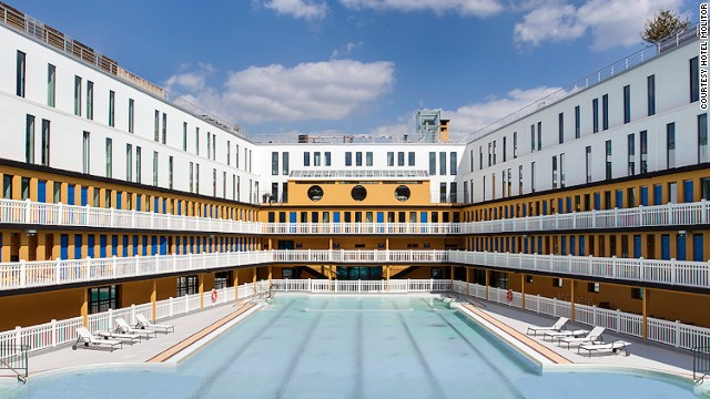 From the 46-meter long outdoor pool, the Hotel Molitor Paris looks more like a luxury cruise liner.