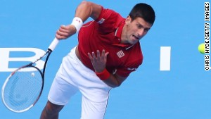 BEIJING, CHINA - SEPTEMBER 30: Novak Djokovic of Serbia serves in his match against Guillermo Garcia-Lopez of Spain during day four of of the China Open at the National Tennis Center on September 30, 2014 in Beijing, China. (Photo by Chris Hyde/Getty Images)