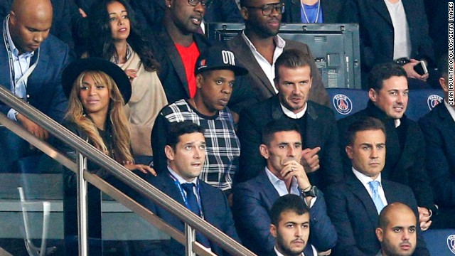 Beyonce was joined by husband Jay-Z and David Beckham, who finished his career at Paris Saint-Germain. The French champion defeated Barcelona 3-2 in a thrilling contest. On the row in front of Beckham, just to his right, is Italian World Cup winner and former Real Madrid star Fabio Cannavaro.