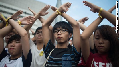 Protesters: 'Hong Kong's leader must go'