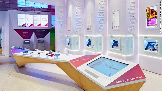 The Lab, Allied Irish Bank's digital banking store in Dublin, is centered around digital self-servicing technologies that help customers learn about its services. Visitors are offered free use of iPads, iMacs and wireless Internet.