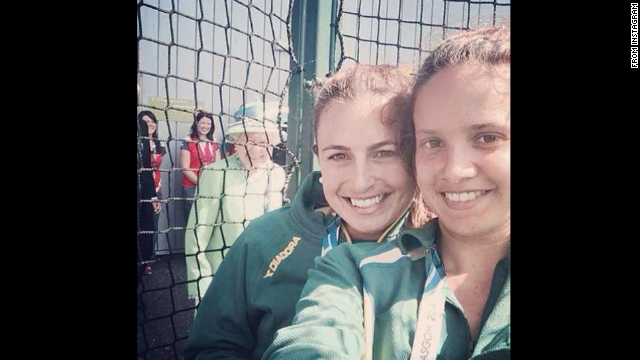 "Photo-sharing app Instagram has many users who take selfies. Britain's Queen Elizabeth is seen in this selfie taken by Jayde Taylor, an Australian field hockey player. She posted in on Twitter: ""Ahhh The Queen photo-bombed our selfie!!"""