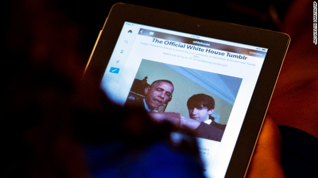 "The White House has a page on Tumblr, a blogging platform that encourages sharing. Here, President Obama is seen with Tumblr founder and CEO David Karp doing a ""fist bump"" at a forum."
