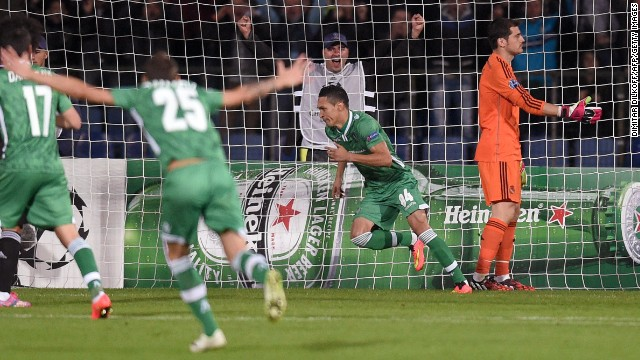 Ludogorets Razgrad midfielder Marcelinho celebrates putting the Bulgarian minnows into a shock 6th minute lead over European champions Real Madrid.
