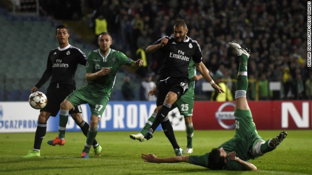 But after Cristiano Ronaldo had scored from the penalty spot -- minutes after having a spot kick saved -- Karim Benzema saved Real's blushes with a 77th minute winner.
