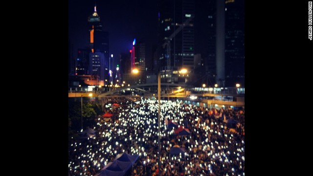 "HONG KONG: ""Ever wondered what a sea of people all holding up their glowing phones in the heart of one of the densest cities in the world would look like? Now you know, thanks to Hong Kong's pro-democracy protests."" - CNN's Jethro Mullen, October 1. Follow Jethro (@jethromullen) and other CNNers along on Instagram at instagram.com/cnn."