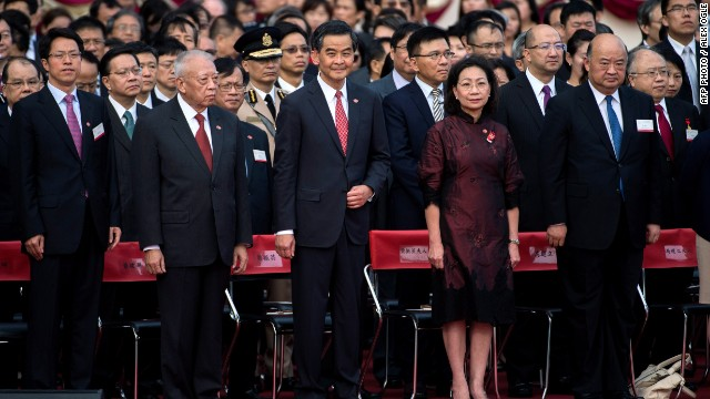 Hong Kong's Chief Executive C.Y. Leung attends a flag raising ceremony to mark the 65th anniversary of the founding of Communist China on October 1.