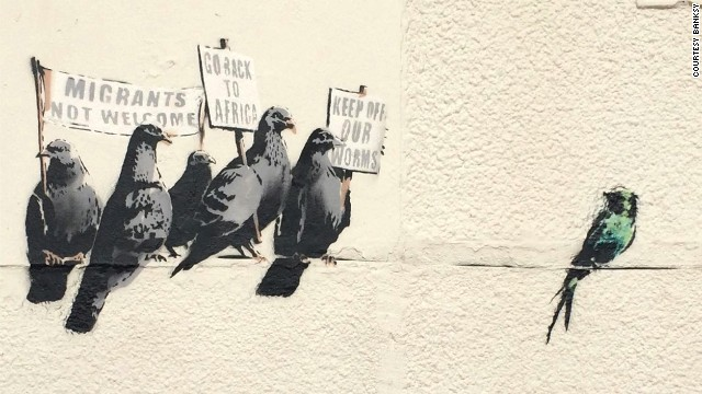 A Banksy mural depicting pigeons holding anti-immigration signs was destroyed by the local council in Clacton-on-Sea, England on October 1 after the council received complaints that the artwork was offensive.
