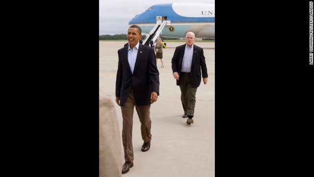 Since leaving the Secret Service, Clancy has worked as head of security at Comcast. In this photo U.S. President Barack Obama (L) arrives at the Cincinnati/Northern Kentucky International Airport in Cincinnati, Ohio on September 7, 2009.