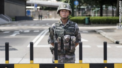 What is China's Army doing in Hong Kong?