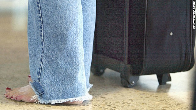 The only time the soles of your feet should make an airport appearance is if the security officer tells you to take off your shoes and put them in the scanner.