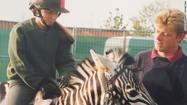 "Horse trainer Gary Witheford (pictured), trained Mombssa the zebra in 1996. He has since tamed three more of the animals, earning the nickname ""The Zebra Whisperer."""