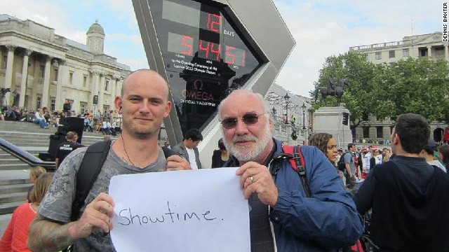 Sound engineer Dennis Baxter, pictured on the right with his son ahead of London 2012, has decades of experience masterminding the sound of TV sports coverage.